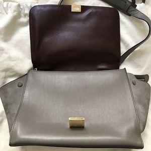 Celine Bags - CELINE Large Grey Croc Embossed Leather Trapeze